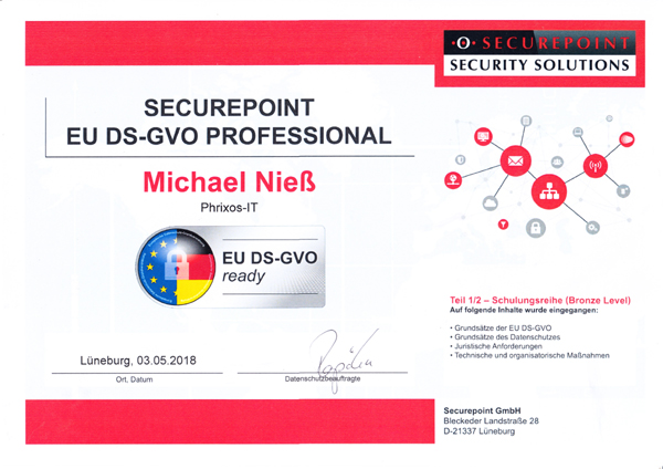 securepoint Zertifikat EU DS GVO Professionell 600
